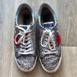Super rare Golden Goose silver glitter sneakers!